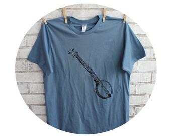 Banjo Cotton T Shirt,Mens Tshirt, Stormy Blue Cotton Crewneck, Music, Musician
