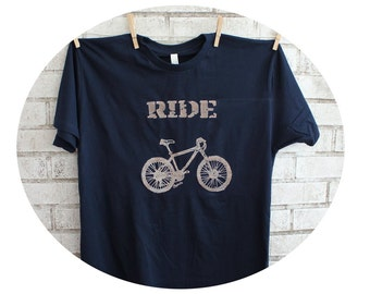 Mountain Bike T Shirt, Men's Cotton Crewneck Top, Graphic Tee, Tshirt, Navy Blue, Short Sleeved, Bicycle Cyclist, Hand Printed, Summer sport