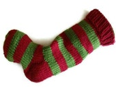 Hand Knit Christmas Stocking Red and Green Striped Wool Santa Sock
