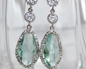 Chandelier Earrings,Green Wedding Earrings,Statement Crystal Erinite Rhinestone Teardrop Earrings,Green Bridal Jewelry,LUX Luxury Earrings