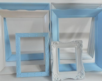 Vintage Shabby Chic Picture frame set Baby Blue - White