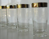 Vintage Silver Band Tumblers, Set of Eight