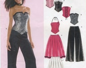 Stylish Corset Top, Flared Pants, Ruffled Skirt Sewing Pattern Junior Size 3/4, 5/6, 7/8, 9/10, 11/12, 13/14 New Look E6480, Uncut, Evening