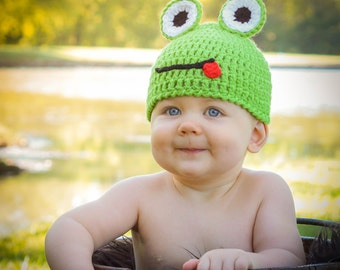 Instant download PDF Pattern Crocheted Baby Froggy Hat