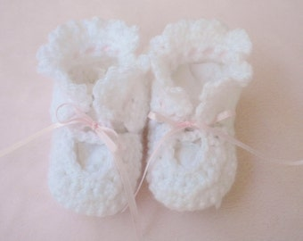Crocheted Booties Baby Girl Infant 6 9 mo Pink Ribbon