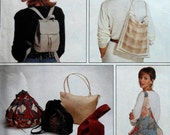 Bags Sewing Pattern UNCUT McCalls 7567 tote fashion mini backbpack