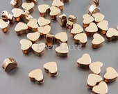 4 SHINY rose gold 5mm heart beads, love beads, heart spacers, beads for charm bracelets 1840-BRG-5 (bright rose gold, 5mm, 4 pieces)