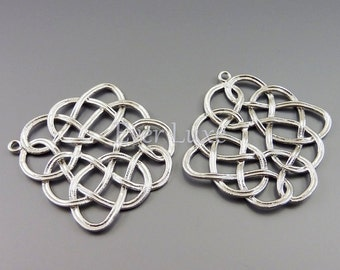 2 large Celtic knot pendants, matte silver brass findings / supplies for jewelry jewellery / metal findings 1772-MR (matte silver, 2 pieces)