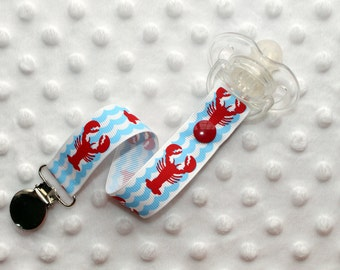 Lobster Waves Pacifier Soothie Clip
