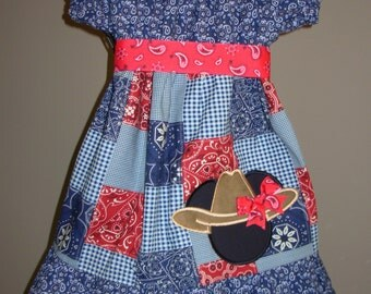 Minnie Cowgirl Peasant Dress (extra for personalization)