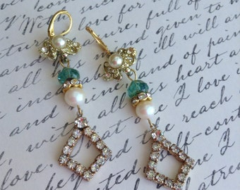 Upcycled Vintage Rhinestone and Pearl Assemblage Earrings,Wedding,OOAK,Repurposed,