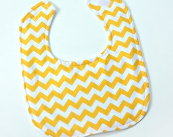 Baby Girl Bib, Drool Bib, Yellow Baby Bib with Yellow Chevron Fabric, Baby Gift, Infant Bib, Soft Flannel Backing