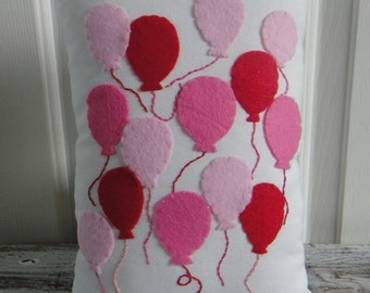 UP UP and AWAY.  Festive Red and Pink Balloon Tooth Fairy Pillow