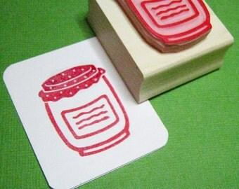 Jam Jar Rubber Stamp - Jam Jar Hand Carved Rubber Stamp - Gift for Foodie - Jam Making - Jam Jar Labels - Fruit Stamper - Strawberry Jam