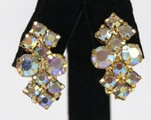 Vintage Sparkling AB Rhinestone Earrings