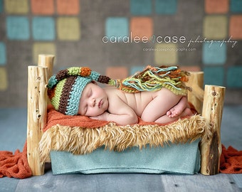 Elf Hat in Minty Blue, Chocolate, Sweat Pea, and Orange with Fringe Tail