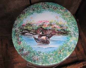 Vintage - Tall Tin with lid & Handle - Pail - Painted Scene - Ducks - Watermill - Nature - Container - Gift Container - Easter Basket