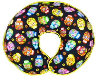 Boppy Pillow Slipcover Colorful Sugar Skulls Baby Girl or Boy Nursing Pillow Cover Breastfeeding Pillow Punk Rock Baby Day of the Dead Baby
