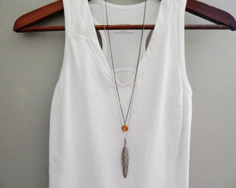 2 Layering Necklaces, FAVORITE Combos // Laying Boho Necklace // Pendant Necklace // Simple Layered Necklace // Womens Boho Necklace Feather