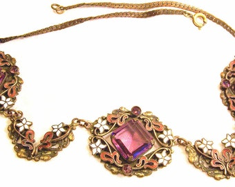 Stunning Art Nouveau Art Deco Open Back Amethyst Czech Glass Enamel Brass Necklace Vintage Necklace Vintage Jewelry