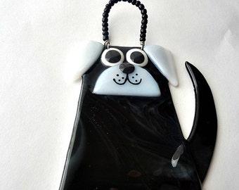 black dog  suncatcher / ornament fused glass