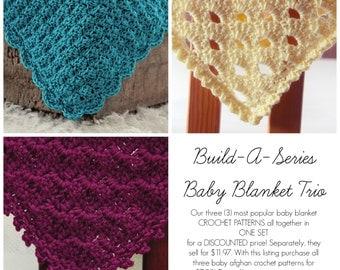 SALE Easy CROCHET PATTERNS Baby Blanket Trio 3  in one Afghan Newborn Beginner Build A Series