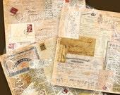 French Collage Scrapbook Paper Vintage Ephemera Digital Download 12 x 12 or 8 x 8