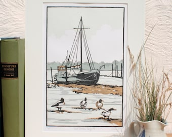 Hand Printed Shelducks, Suffolk Lino Print