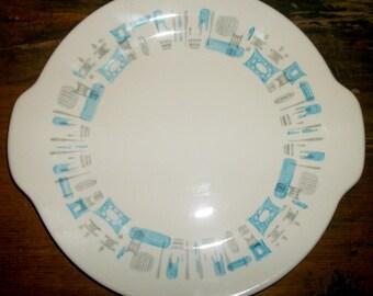 Royal Blue Heaven Handled Serving Platter or Cake Plate