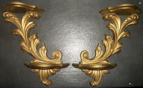 Pair of Burwood Gold Double Shelf Wall Hangings