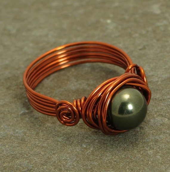 Copper Wire-Wrapped Ring with Green Swarovski Pearl and Wire Spirals - Size  9
