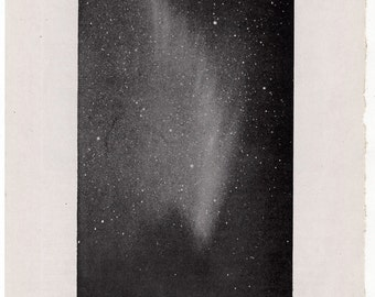 1946 comet trail original vintage celestial astronomy print - trail of the great comet of 1910