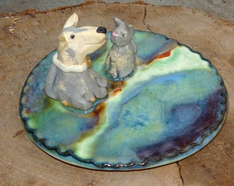 Dog  and cat Jewelry Tray or Teaspoon rest stoneware pottery