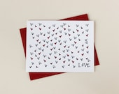 Valentine: Tiny Red Hearts Individual A2 Size Card