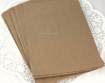"50 Kraft Paper Bags 5"" x 7"" Brown/White Paper Bags, Party Supplies, Printable Bags, DIY Wedding, Party Favors, Gift Wrap"