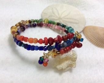 Bracelet Stacker Rainbow Beads