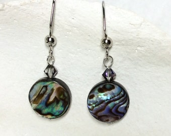 Earrings abalone and crystal