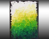 Original Abstract Painting, Palette Knife, Textured, Abstract Art, Wall Art, Green, Yellow, White, Contemporary, 18x24, Len Dickson
