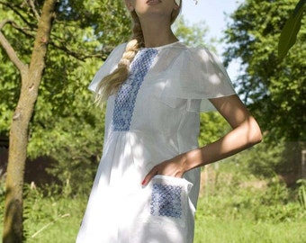 White Summer Dress, Bohemian Tunic Dress, Cotton Dress, Short Sleeved Dress, Short Dress, Folklore Clothing, Loose Dress, Fashion Dress