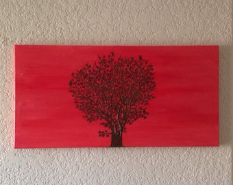 Tree Painting with Henna - Acrylic Mixed Media Painting - OOAK - Unique Henna Art