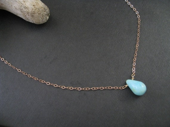Peruvian Opal Necklace, Blue Peruvian Opal Necklace, Simple Gemstone Necklace Rose Gold or Sterling Silver Chain, Minimalist Single Pendant