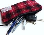 HARRIS TWEED Tartan Pencil Case, red and black plaid, McIver tartan