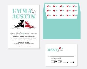 Tennis Shoe Wedding Invitation, Modern Wedding Invitation, Simple Wedding Invitation