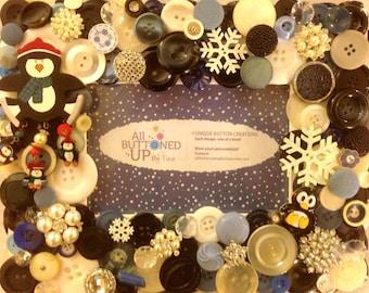 PENGUIN Button Frame in Blue Black and White ~ Holiday Frame ~ Winter Frame ~ Gift for Her ~ Shabby Chic Decor ~ Boho Frame ~ for 4x6 photo