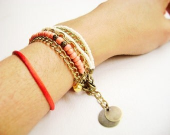 Bohemian stacking bracelet Sweet talk - romantic Boho style ivory pink coral multiple golden chain stacking bracelet