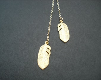 matte yellow gold feather lariat - 16K gold plated chain