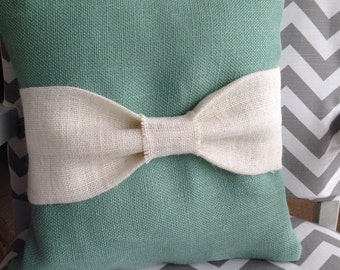 Decorative burlap pillow with bow in tiffany blue, wedding, shower, ring bearer