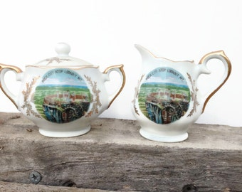 1950s travel souvenir porcelain sugar and creamer set from Lookout Mountain Tennessee