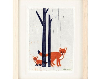 FOXES Poster Size Linocut Reproduction Art Print: 8 x 10, 9 x 12, 11 x 14, 12 x 16