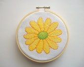 Hand Embroidered Hoop Art Gerbera Daisy Cross Stitch Wall Hanging One of a Kind